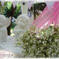 Βάπτιση με Αγγελάκια και λουλούδια σε ροζ-λιλά